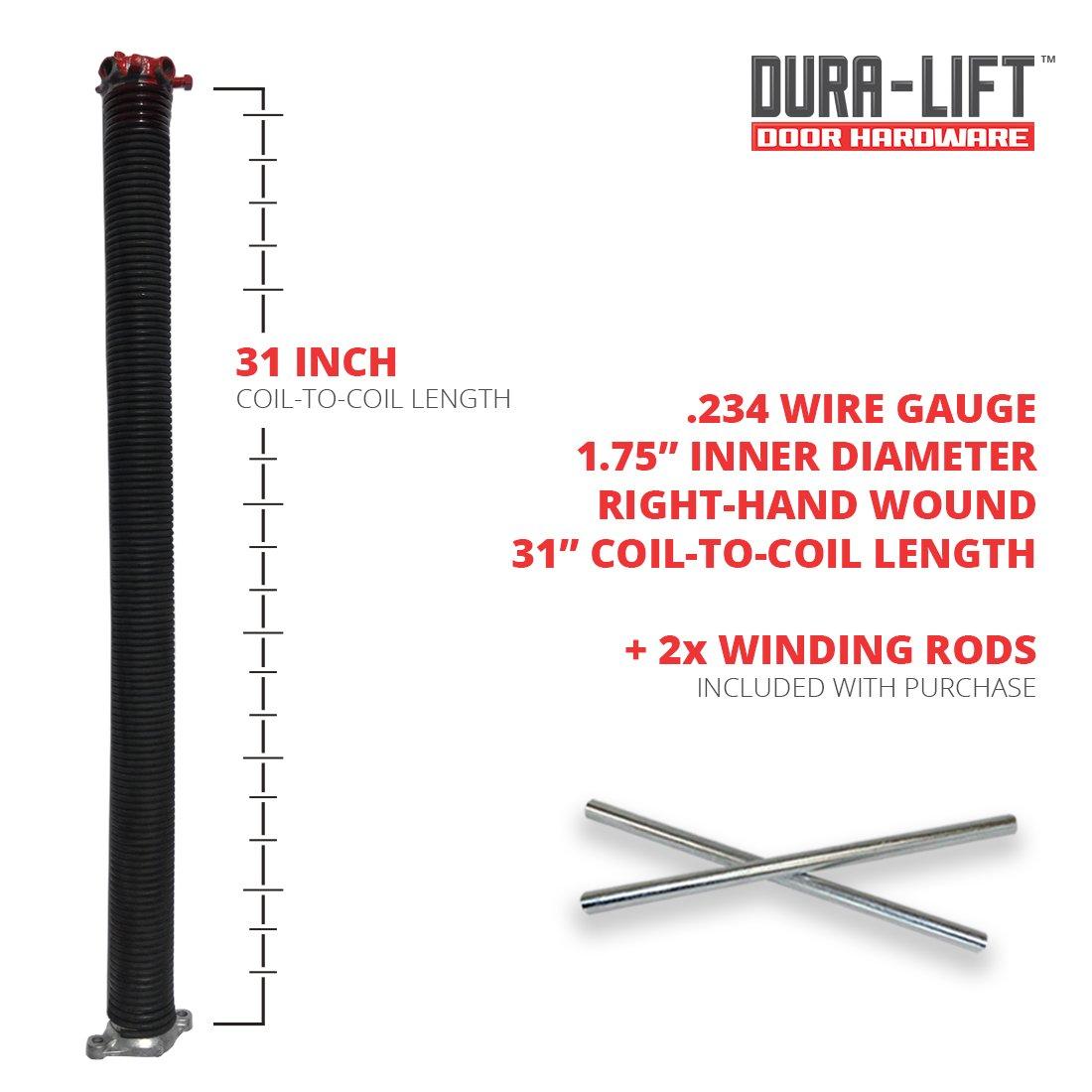 DURA-LIFT .234 x 1.75 x 31 Torsion Garage Door Spring Brown, Right Wound