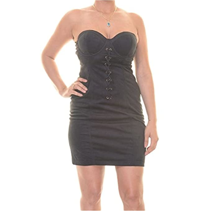 7a010d447cc GUESS Strapless Lace-up Faux-Suede Mini Bustier Dress Size 8  Amazon.ca   Clothing   Accessories