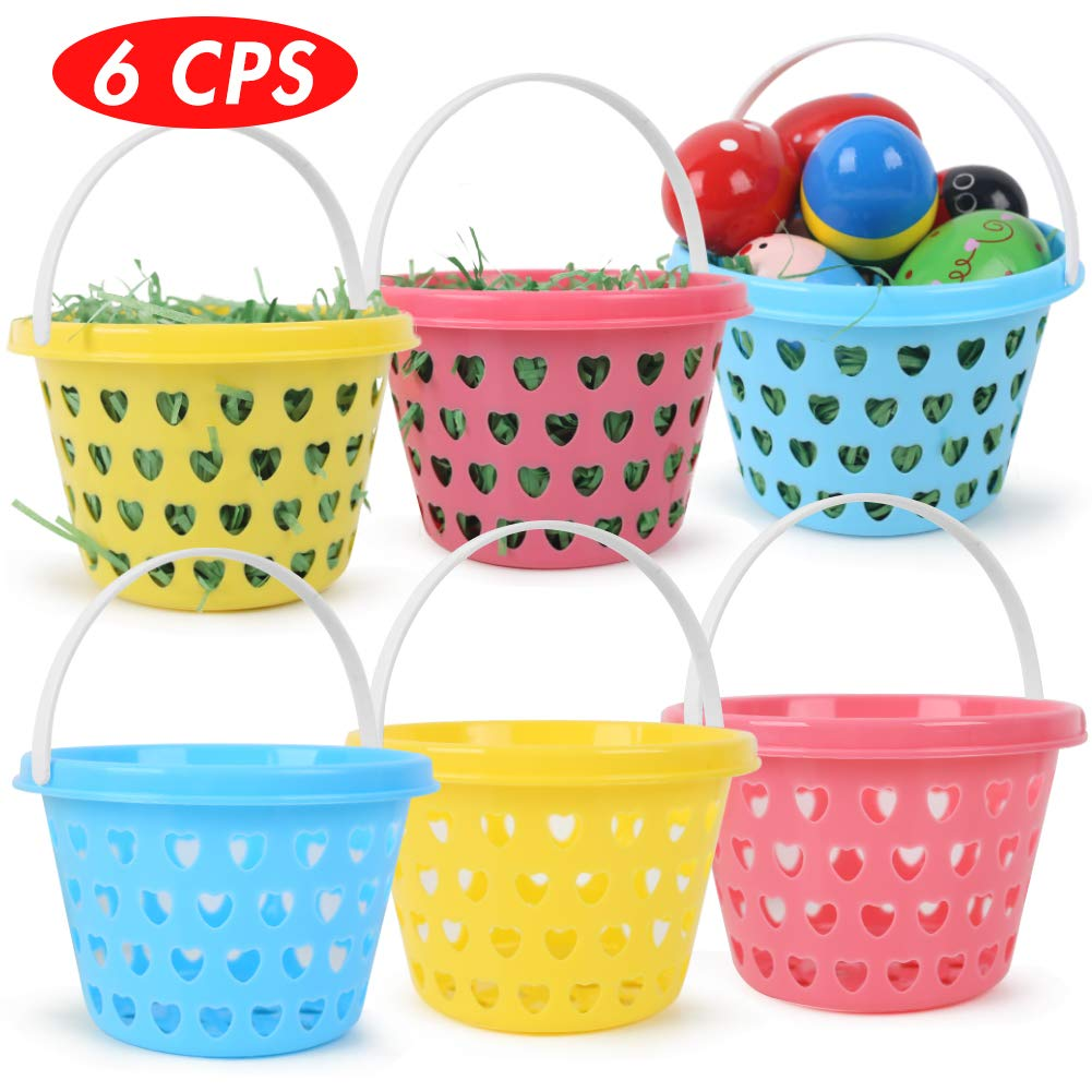 6 COLORFUL BASKETS WITH FAKE GRASS