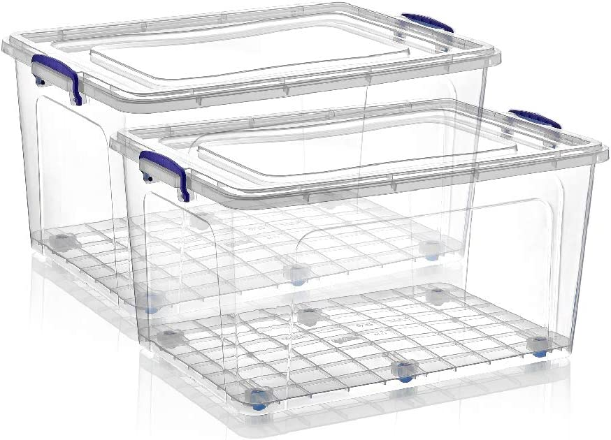 Superio Storage Containers With Wheels 85 Qt. (2 Pack), Stackable Large Storage Containers With Lids, Durable Latches