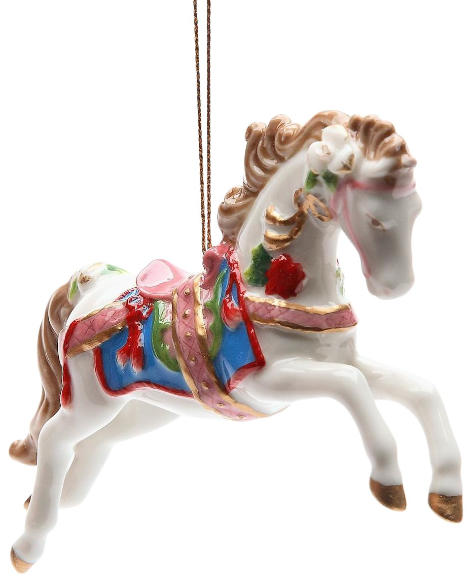 StealStreet SS-CG-10682 4.88'' White Painted Carousel Horse Christmas Tree Ornament