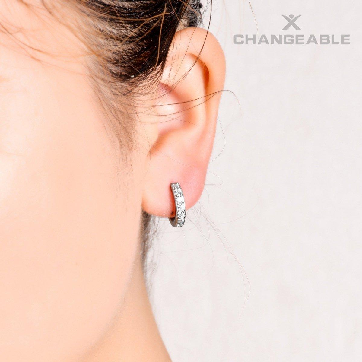 Pendentif et boucles doreilles en argent sterling 925 en cristal pour femme par CHANGEABLE