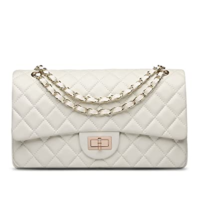 white chanel bags black ainifeel womens genuine leather quilted chain bag shoulder handbags purse medium beige