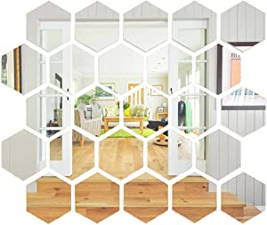 Sovob Wall Sticker Adhesive Removable Acrylic Mirror 24 Pieces 3D Sticker Decal for Home Living Room Bedroom Office Decor (Hexagon , 24 Pieces)