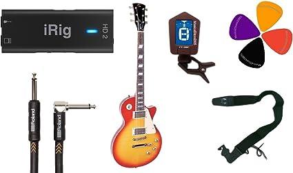 Guitarra eléctrica tipo Les Paul, IK iRig HD2 Starter Kit: Amazon ...