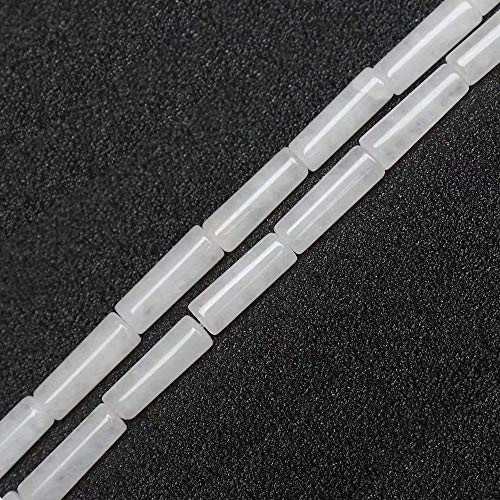 4x13mm Column Cylinder Tube White Jade Beads Natural Semi Precious Gemstone Beads for Jewelry Making Strand 15 Inch (28-30pcs) ()
