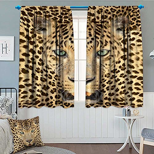 Leopard Photo - SeptSonne-Home Wildlife Decor Wild Tiger Leopard Print Picture of Art Photos Big Cat with Green Eyes in Animal Themed Thermal/Room Darkening Window Curtains Yellow Brown Customized Curtains 72
