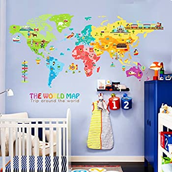 IceyDecaL Super Large World Map Wall Decal Kids Educational Animal/National  Flag /