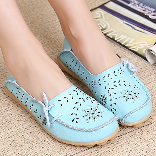 FLORATA Women Loafers-Hollow Out Carving Leather Lace-up Slip on Flat Boat Shoes Light Blue ZZTjt