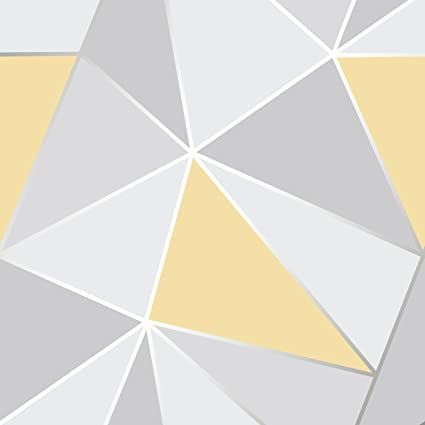 Apex Geometric Wallpaper Yellow And Grey