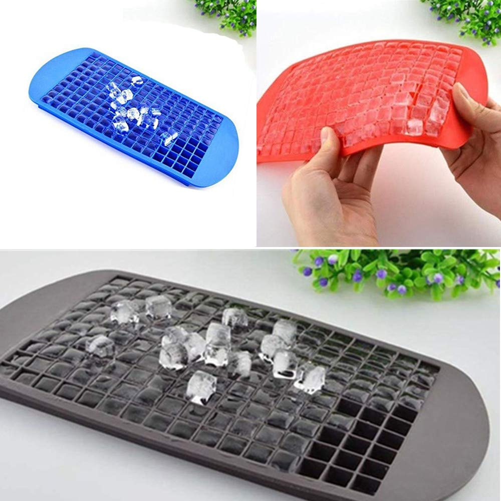 160 Grids Ice Cube Trays Mini Tiny Silicone Ice Cube Trays and Candy Grids Small Ice Maker Tiny Ice Cube Trays Chocolate Mold Mould Maker Molds for Kitchen Bar Party Drinks with Variety Color(3-Pack) by YD YD XINHUA (Image #4)