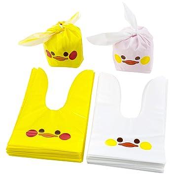Bolsas Caramelo, [100 Pcs] Bolsas Regalo Cumpleaños, Bolsa de Pato, Galleta Piscolabis de Conejo, Bolsas Plástico para Frutos Secos, Caramelos, ...
