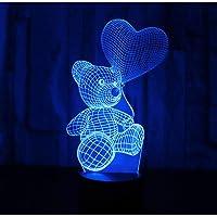 3D Illusie Nachtlampje LED Nachtverlichting Ballon Beer met 7 Kleuren Licht voor Woondecoratie Lamp Geweldige…