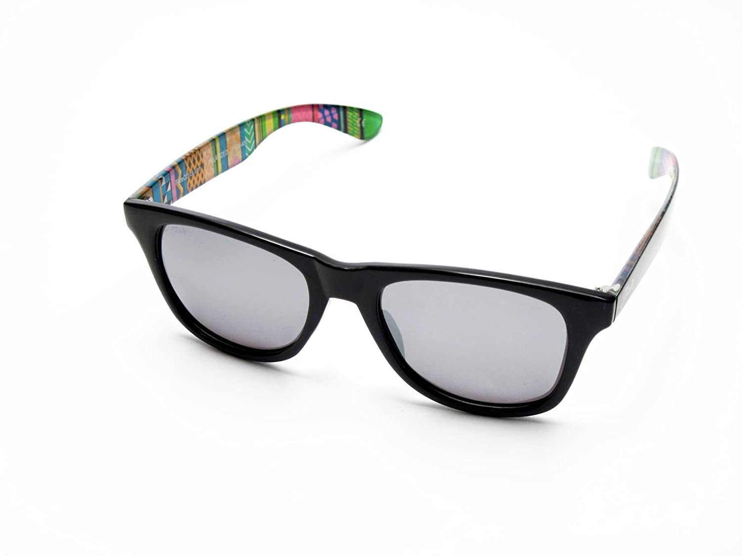 Sunglasses Glossy Black Frames and Aztec Pattern 鈥