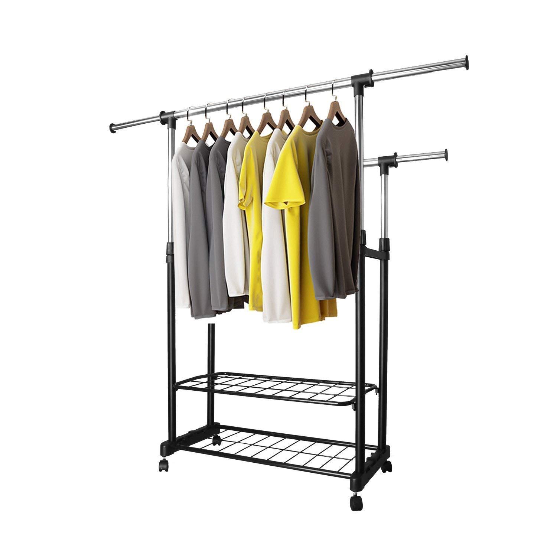 Amazon.com: PowCube - Perchero ajustable para ropa, doble ...