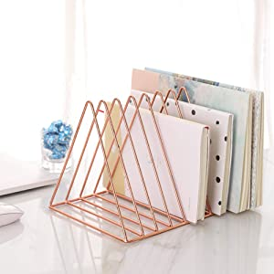 Sooyee 9 Slot Rose Gold Magazine Holder,Desktop File Sorter Organizer Triangle Bookshelf Decor Home Office