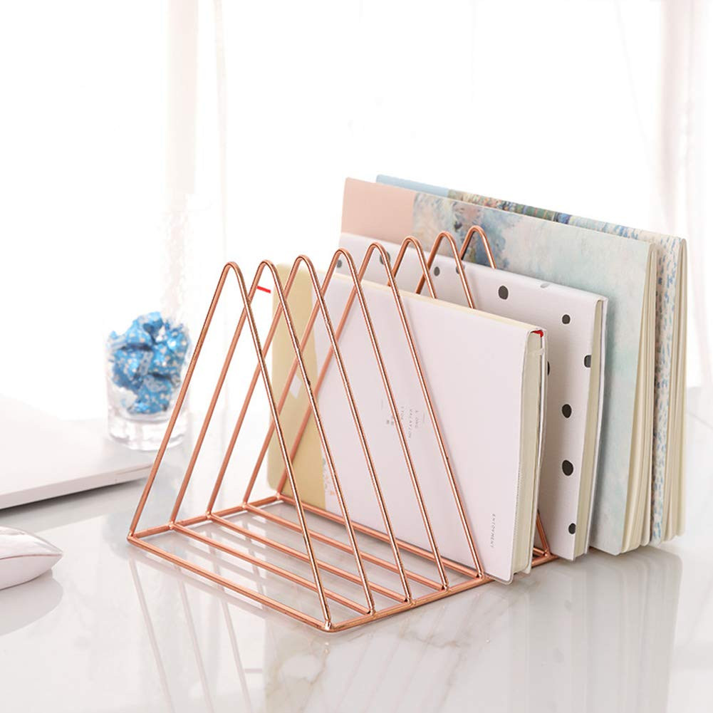 Sooyee 9 Slot Rose Gold Magazine Holder,Desktop File Sorter Organizer Triangle Bookshelf Decor Home Office by Sooyee