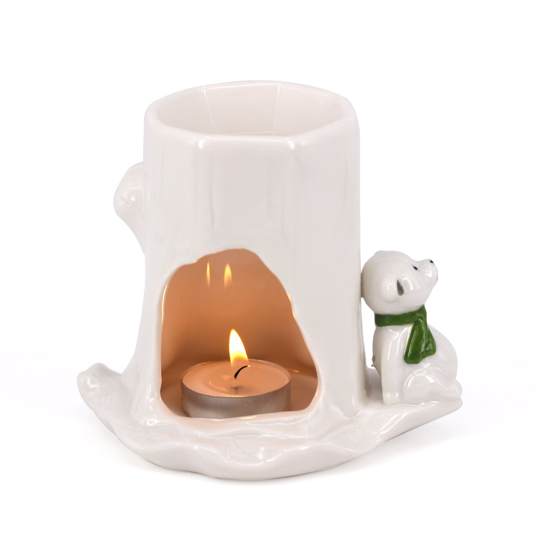 DELIWAY Animal Design Ceramic Tea Light Holder/Wax Melt Warmer, Handcrafted Essential Oil Warmer Aromatherapy Burner, Great Decoration For Living Room, Balcony, Spa, Yoga Meditation (Little Bear)