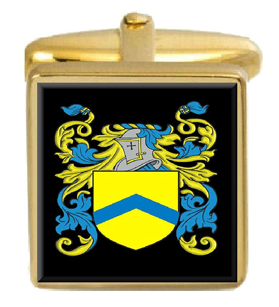 Select Gifts Ditton England Family Crest Surname Coat Of Arms Gold Cufflinks Engraved Box