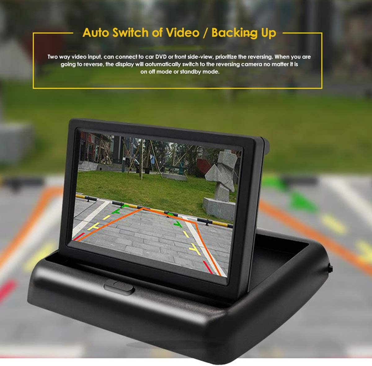 Wired 170/° Rear View Night Vision Parking Reversing Camera Car Dash Cam DEALPEAK Car 4.3 Universal LCD Foldable Monitor