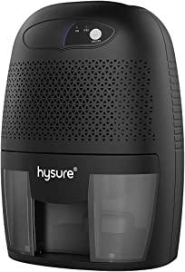 Hysure Household Portable Dehumidifier, 1400 Cubic Feet (150 sq ft), Compact Portable Damp Air Mold Moisture in Home Kitchen Bedroom Basement Caravan Office Garage (500ml) (Black)