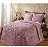 1 Piece Pink Oversized Chenille Bedspread Queen, Coastal Solid Color Medallion Pattern Extra Long Wide Drapes Over Edge Drops Down To The Floor Oversize Bedding Flower Shabby Chic Warm Cozy, Cotton