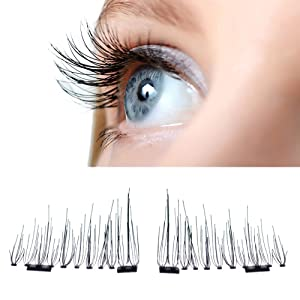Sansee Ultra-thin Magnetic Eye Lashes 7mm 3D Reusable False Magnet Eyelashes(4 pieces) (Double magnetic)