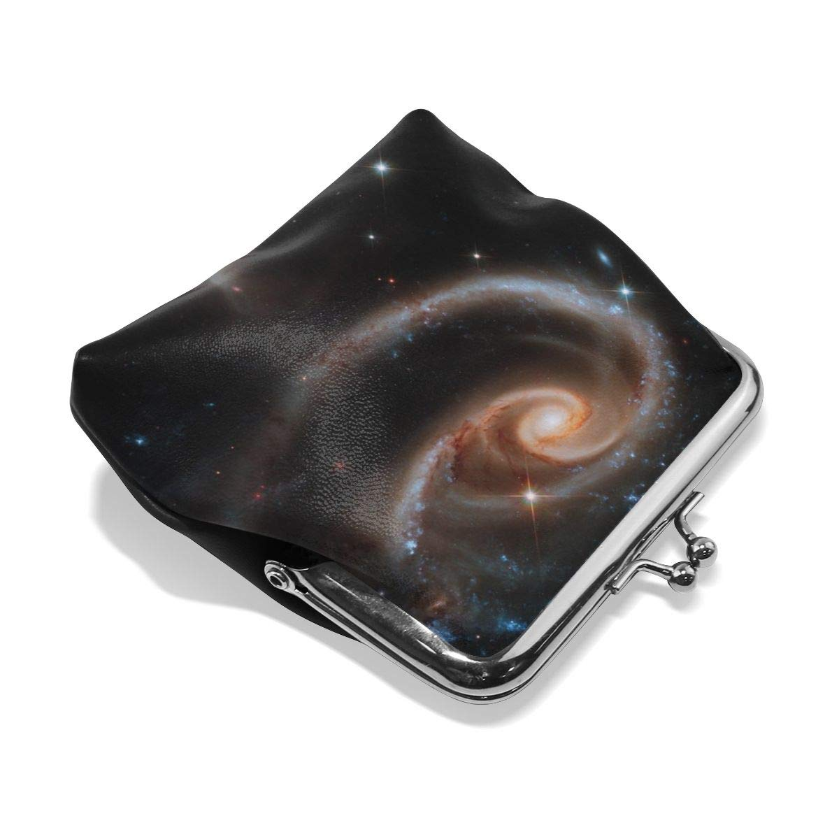 Poream Stars Funnel Spiral Cluster Space Galaxy Universe Astronomy Customized Retro Leather Cute Classic Floral Coin Purse Clutch Pouch Wallet For Girls And Womens