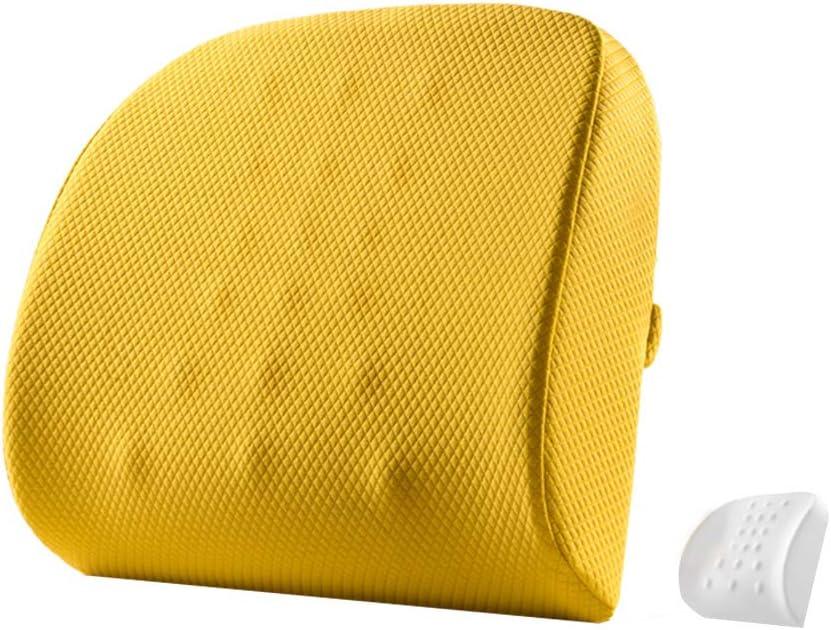 Yulo Cojín de Asiento Lumbar Apoyo para Silla de Oficina de Coche sillas de Ruedas Calidad Memoria ortopédica Almohada de Espuma,Amarillo,45x35x10cm
