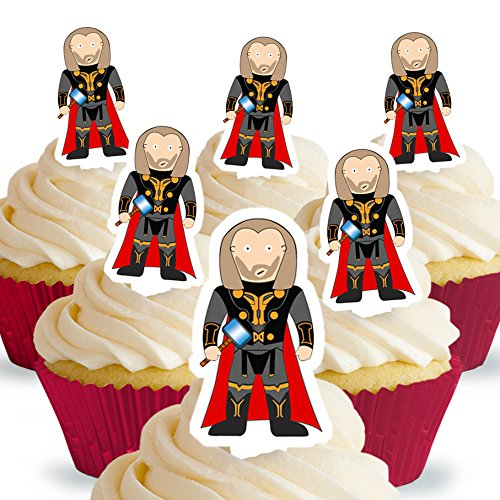 Cakeshop 12 x PRE-CUT Thor Stand Up Edible Cake Toppers