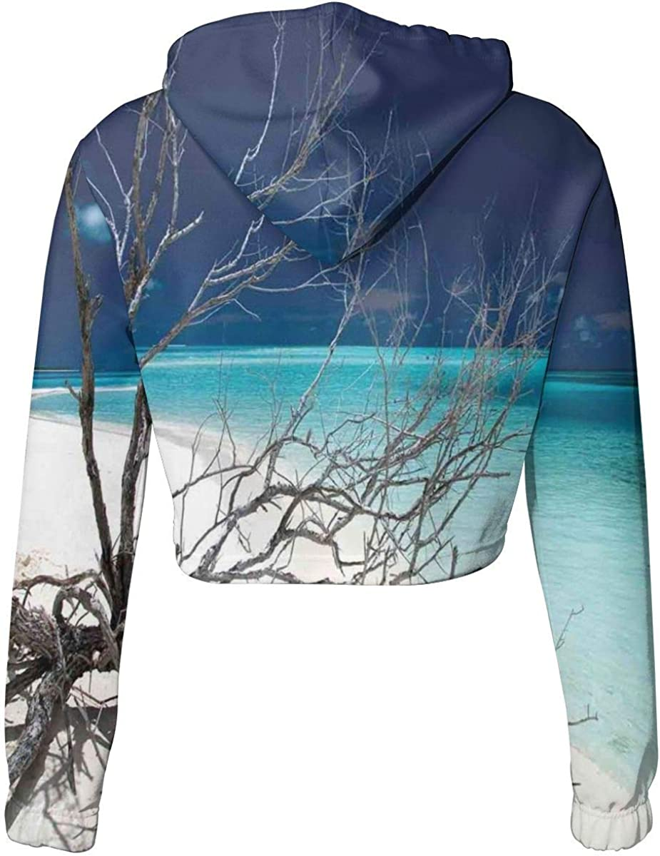 Womens Cropped Hoodie,Mountain Sky View from The Grotto Viatnemese Tam COC Park Myst Nature Photo,S-XL