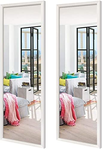 Schliersee 14×48 inch Full Length Mirrors Wall Mounted Rectangular White Framed Wall Mirror Set