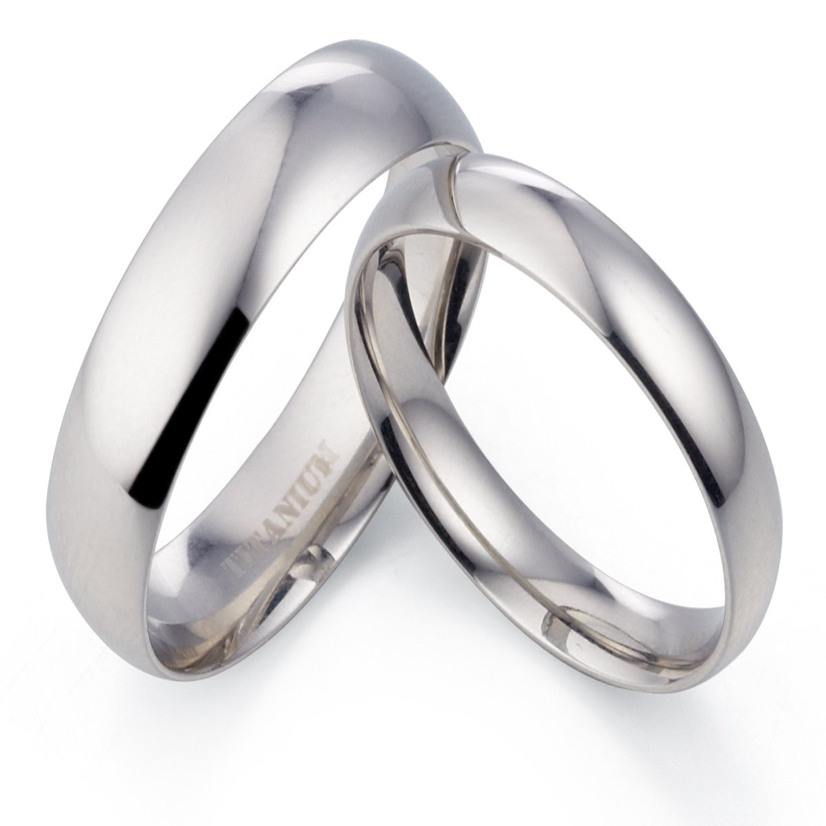 7 Gemini His /& Her Groom /& Bride Plain Dome Court Comfort Fit Matching Wedding Engagement Titanium Rings Set 6mm /& 4mm Width Men Ring Size 10 Women Ring Size