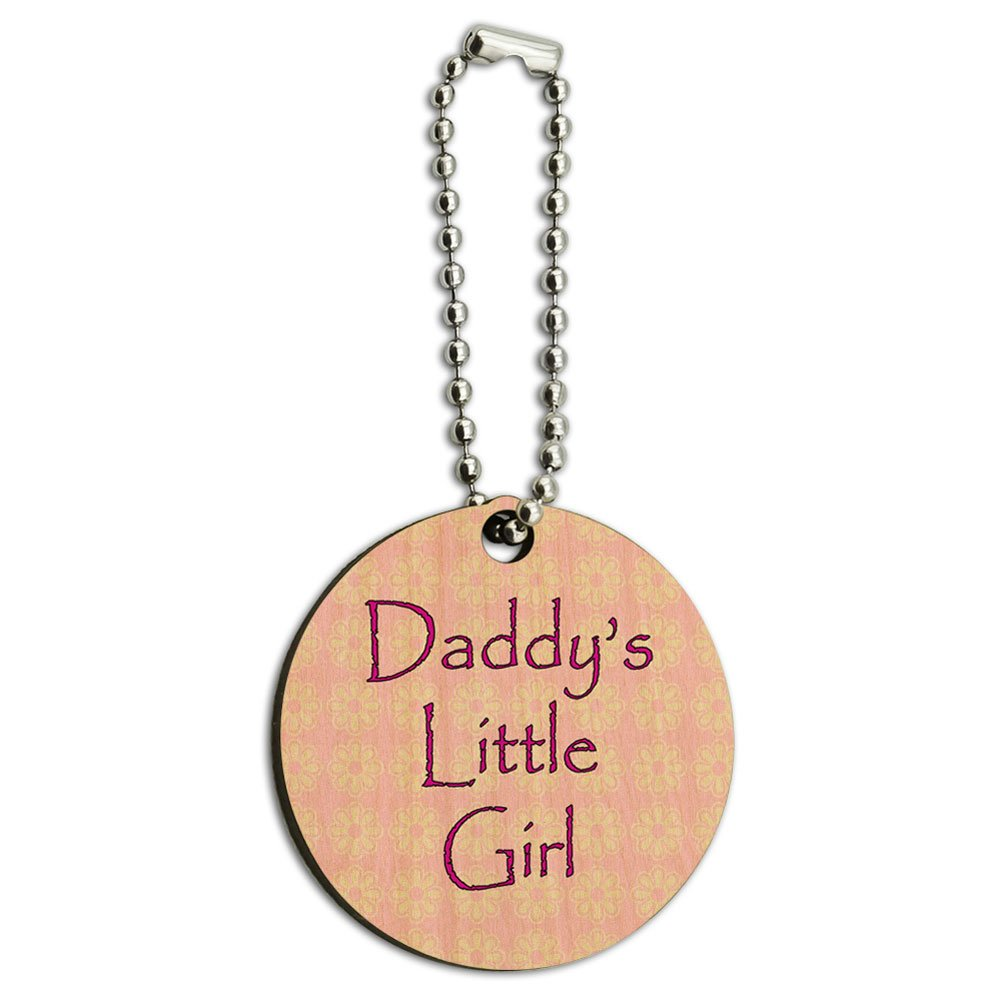 Daddy's Little Girl Pink with Flowers Wood Wooden Round Key Chain