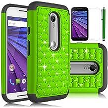 Moto G 3rd Gen Case, Moto G (2015) Case, EC™ Studded Rhinestone Case, Dual Layer Crystal Bling Hybrid Armor Case Cover for Motorola G 3rd Generation (2015) (Bling-Green)