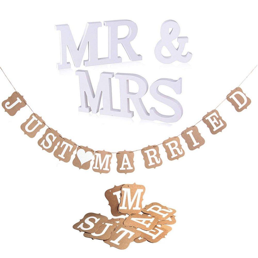 "MR /& MRS+Just Married Banner Vintage // Rustikal Kraft Paper /""Just Married,Hochzeits-Girlande Girlande JUST MARRIED MR /& MRS Deko Buchstaben Hochzeit Dekobuchstaben Banner Girlande Dekoration"