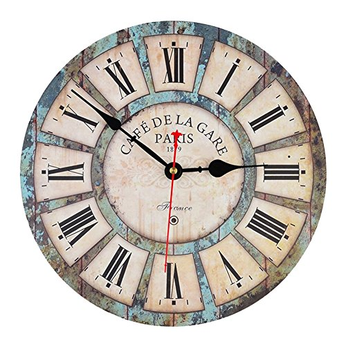 Silent Wall Wooden Clock French Country Tuscan Style Roman