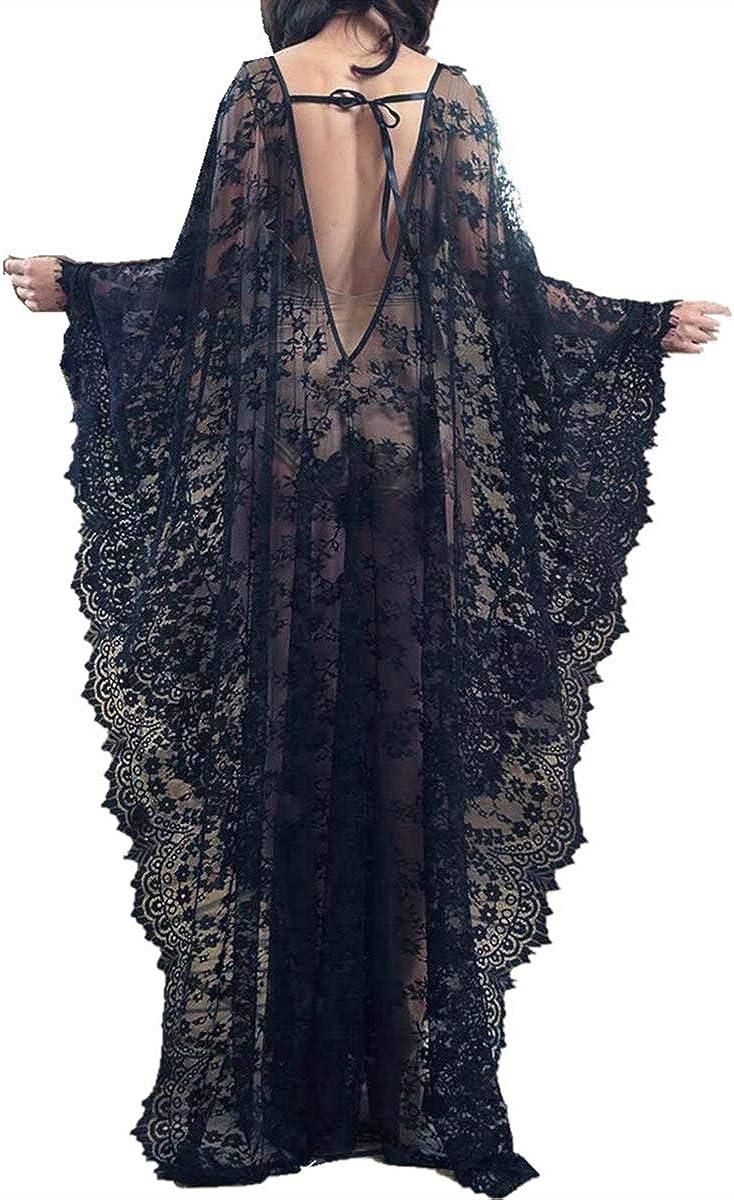 YouKD Vestido Floral de Encaje de Mujer Suelto Kaftan Boho Kimono Amplio Bikini de Playa Encubrir Vestidos