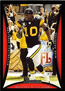 2008 Bowman Football #71 Santonio Holmes Pittsburgh Steelers Official NFL Trading Card From Topps