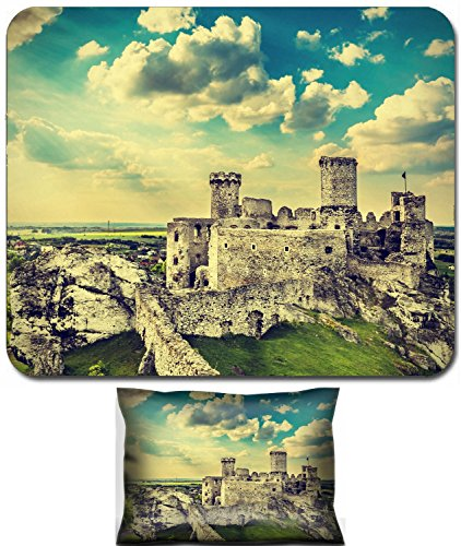 Liili Mouse Wrist Rest and Small Mousepad Set, 2pc Wrist Support Ruins of a castle Ogrodzieniec fortifications Poland vintage retro filter 29573783