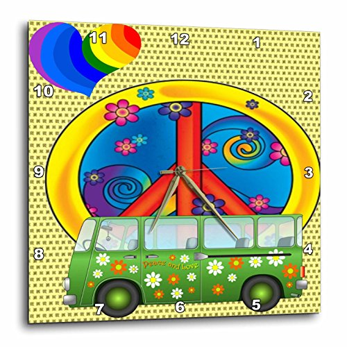 60S Peace,Love,Flower Power Van and Peace Sign Art-Wall Clock