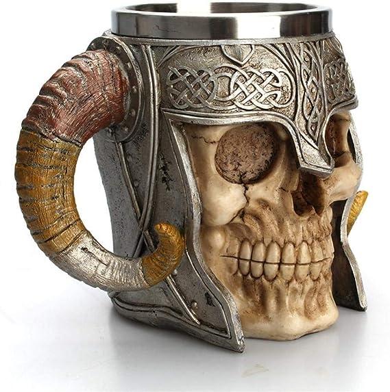 Baoblaze Viking Acero Inoxidable Calavera Tazas De Café Taza Jarra de cerveza de cuerno