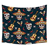tidy decor Skulls Decorations Tapestry Wall Hanging by, Skull with Roses Day of the Dead Sign Horror Mexican Traditional Art Print, Bedroom Living Room Dorm Decor,80 W X 60 L Inches