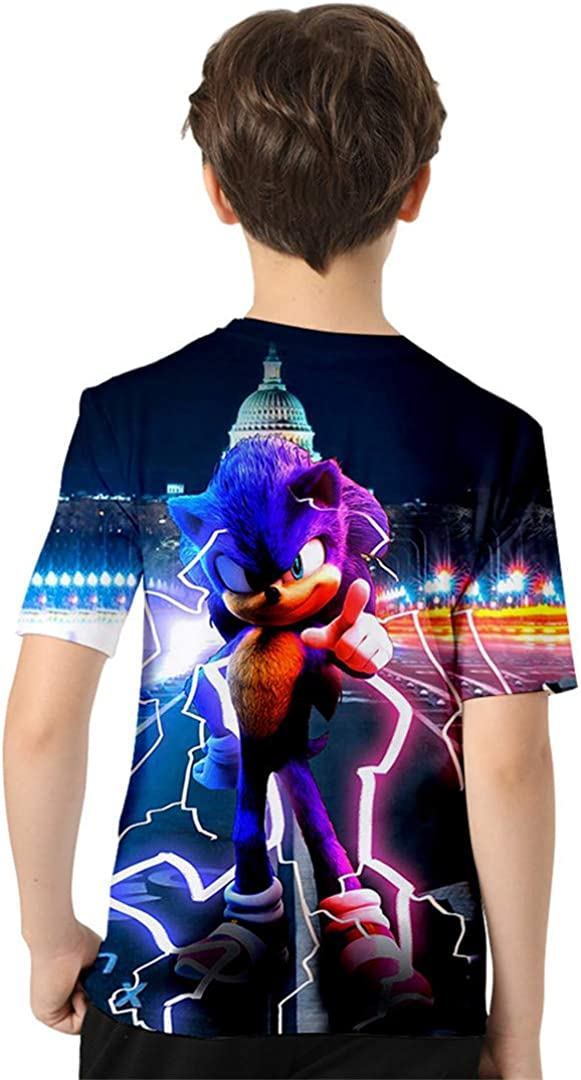 Silver Basic Cartoon Grafica Sonic The Hedgehog Poster T-Shirt Street Confortevole Shirt