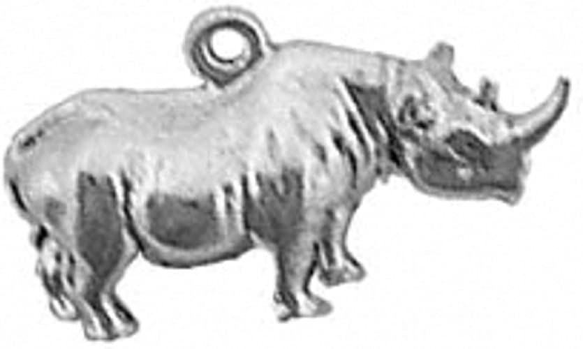 Sterling Silver Girls .8mm Box Chain 3D Adult Rhinoceros Pendant Necklace