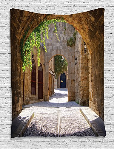Picture It On Canvas Tapestry Wall Bedding Hanging - Ancient Italian Street in Small Provincial Town of Tuscan Italy Europe Luxury Home Decoration for Living Room - 50X80 inch (Italian Iron 230)