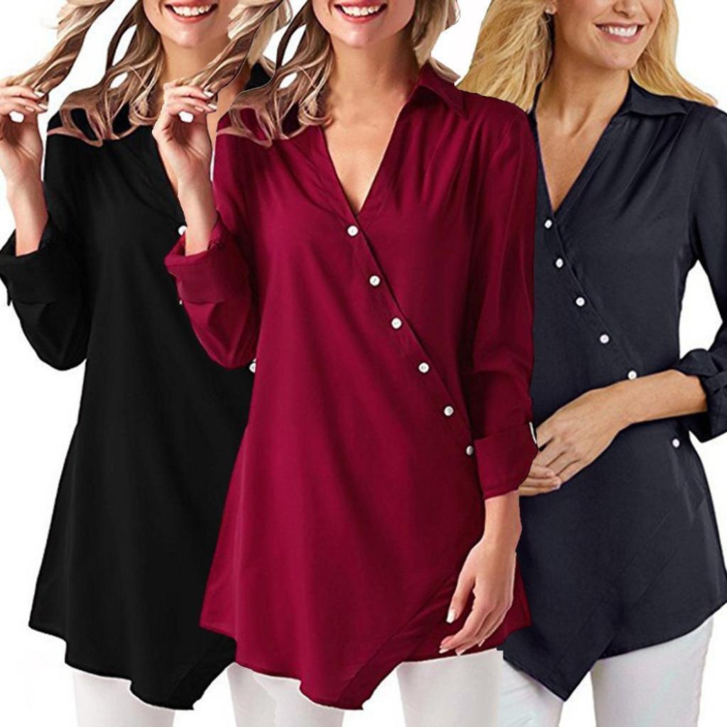 Manga Larga de la Moda de Mujeres Camisetas con Cuello en v Blusa Suelta Blusas Casuales ❤ Manadlian: Amazon.es: Ropa y accesorios