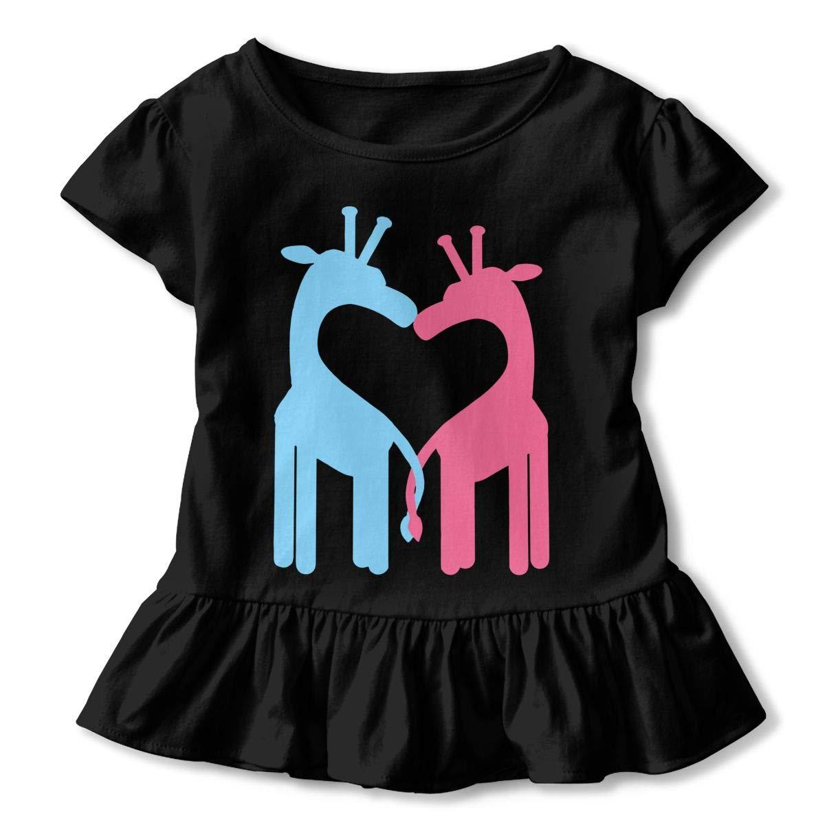 Giraffe Couple Kids Girls Short Sleeve T-Shirts Ruffles Shirt Tee Jersey for 2-6T