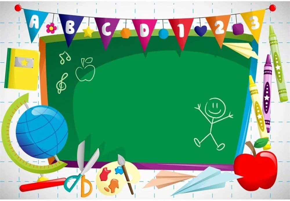 OFILA ABC Blackboard Backdrop 5x3ft Polyester Fabric Online Class Photography Background Pre-K Students Photos Back to School Day VIP Kids Backdrop Online Course Video Background School Promo Photos