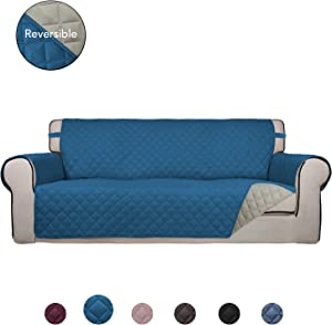 PureFit Reversible Quilted Sofa Cover, Water Resistant Slipcover Furniture Protector, Washable Couch Cover with Non Slip Foam and Elastic Straps for Kids, Pets (Oversized Sofa, Peacock Blue/Beige)